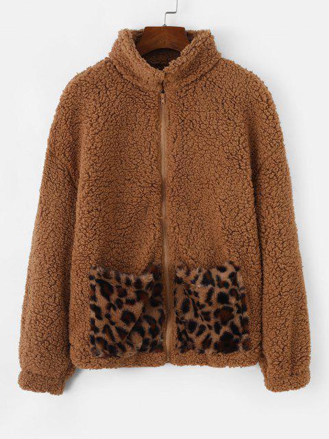 Pockets Leopard Faux Fur Zip Up Teddy Coat - دب بنى XL Mobile