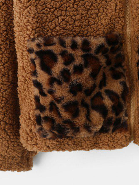fancy Pockets Leopard Faux Fur Zip Up Teddy Coat - BROWN BEAR XL Mobile