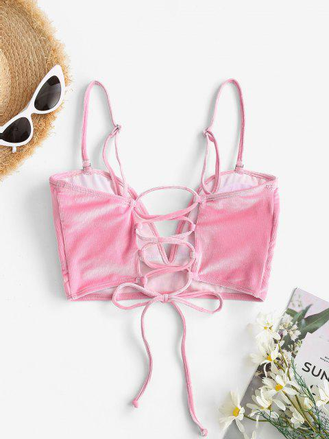 ZAFUL Ribbed Velvet Lace-up V Wired Bikini Top - وردي فاقع S Mobile