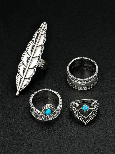 sale 4 Piece Ethnic Engraved Feather Finger Rings Set - SILVER  Mobile