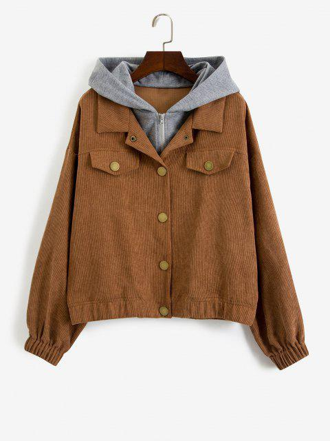 ZAFUL Hooded Snap Button Combo Corduroy Jacket - اوك براون S Mobile