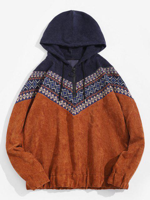 lady Tribal Geometric Pattern Panel Corduroy Hoodie - DEEP YELLOW L Mobile