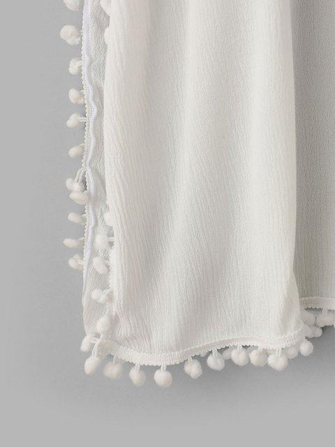 ZAFUL Pom Pom V Ausschnitt Poncho Cover-Up Kleid - Weiß M Mobile