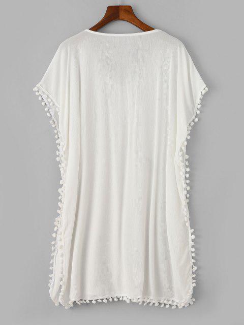 affordable ZAFUL Pom Pom V Neck Poncho Cover Up Dress - WHITE L Mobile