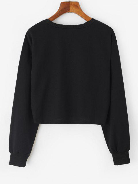 women's Westcoast Graphic Crop Sweatshirt - BLACK M Mobile