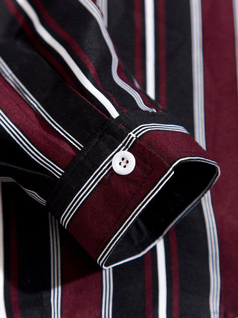 women Striped Feather Print Long Sleeve Shirt - DEEP RED S Mobile