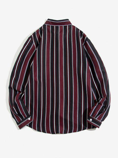 Striped Feather Print Long Sleeve Shirt - أحمر عميق S Mobile