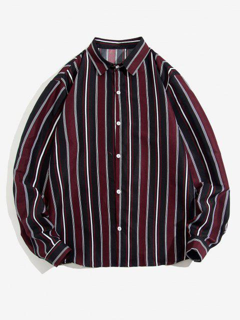 hot Striped Feather Print Long Sleeve Shirt - DEEP RED 2XL Mobile
