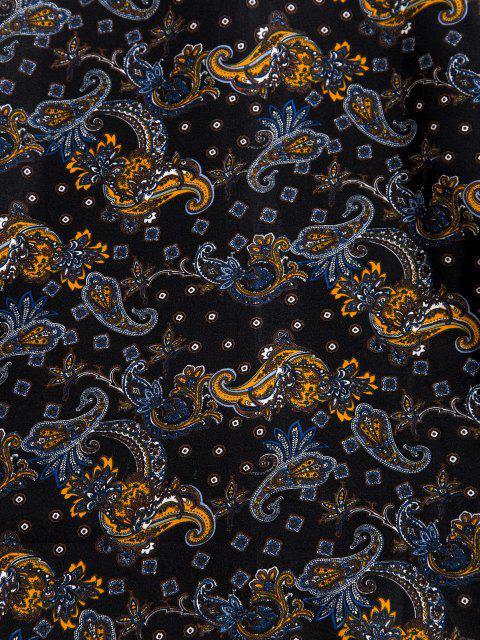 buy Paisley Print Long Sleeve Shirt - BLACK 2XL Mobile