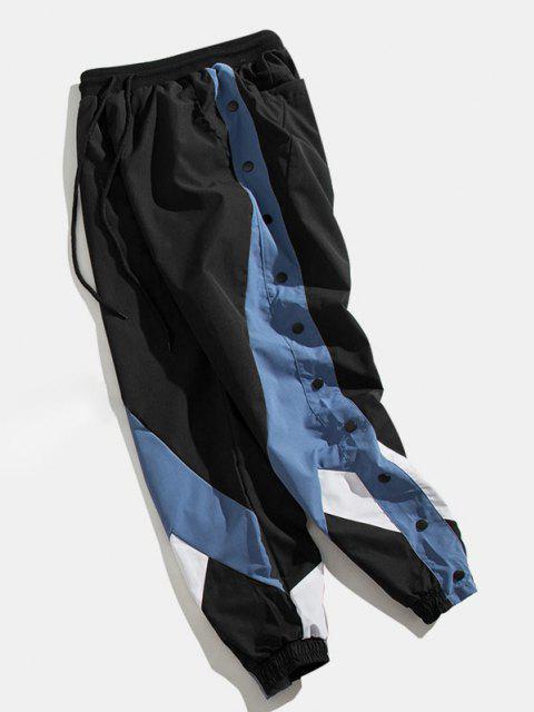new Colorblock Panel Button Embellishment Pants - BLUE XL Mobile