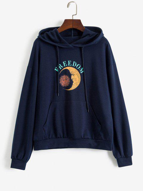 latest ZAFUL Drawstring Moon Sun FREEDOM Graphic Hoodie - DEEP BLUE M Mobile