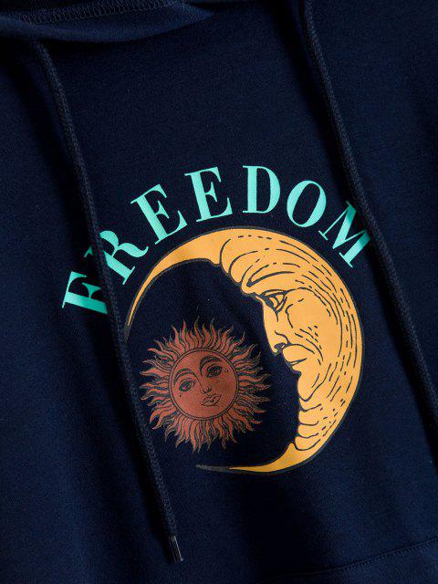 trendy ZAFUL Drawstring Moon Sun FREEDOM Graphic Hoodie - DEEP BLUE S Mobile