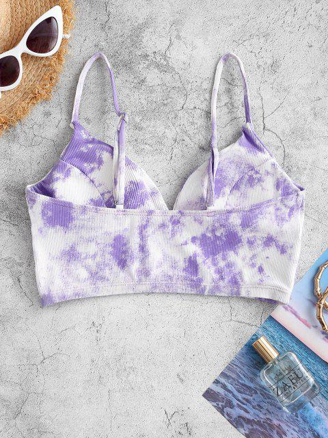 ZAFUL Tie Dye Ribbed Tank Bikini Top - أرجواني S Mobile