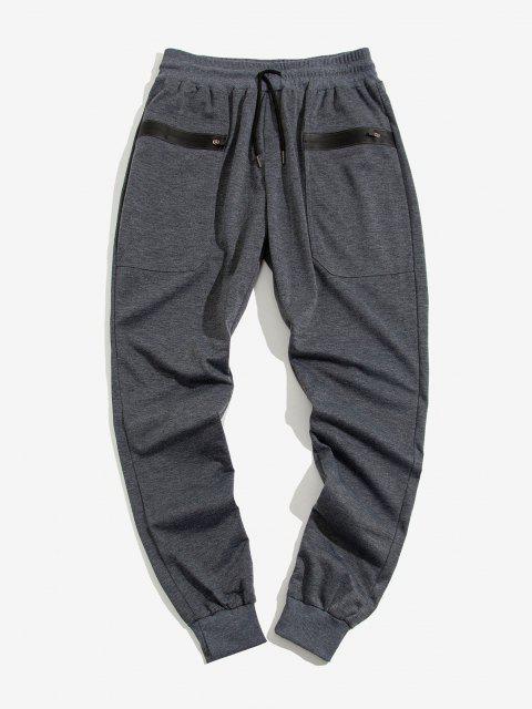 Pantalones Deportivos Bolsillos Cremallera - Gris Oscuro S Mobile