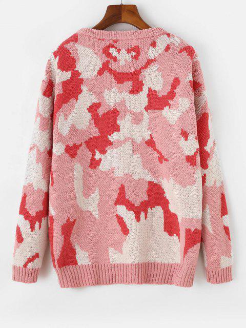 Fallschulter Tarnung Pullover mit Rundhalsausschnitt - Flamingo Rosa Eine Größe Mobile