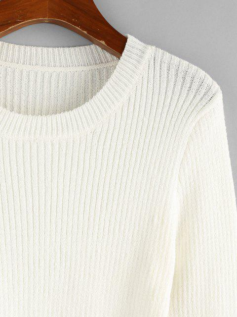 ZAFUL Geschnürte Gerippter Einfacher Pullover - Weiß L Mobile