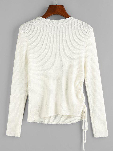 online ZAFUL Cinched Ribbed Plain Jumper Sweater - WHITE S Mobile