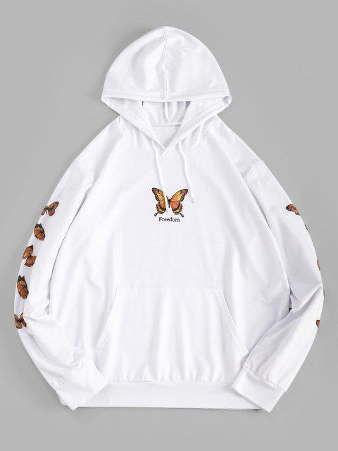 trendy Freedom Butterfly Print Kangaroo Pocket Hoodie - WHITE XL Mobile