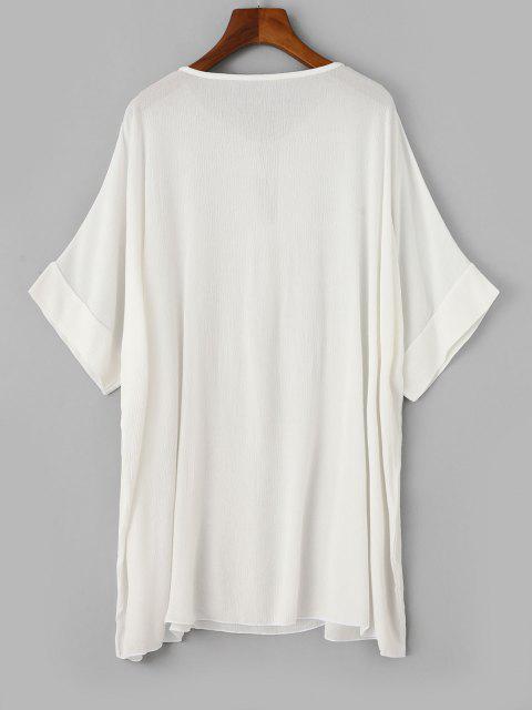 ZAFUL Robe de Plage Tunique à Manches Chauve-sourisavecTroudeSerrure - Blanc S Mobile