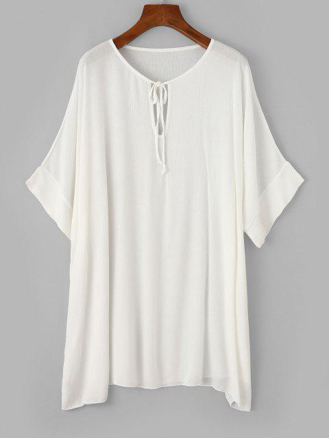 unique ZAFUL Keyhole Batwing Sleeve Tunic Beach Dress - WHITE L Mobile