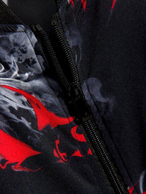 Veste Zippée Imprimée à Ourlet Côtelé - Noir XS Mobile
