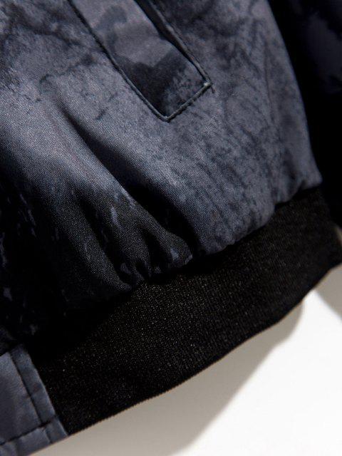 Veste Zippée Imprimée à Ourlet Côtelé - Gris XS Mobile