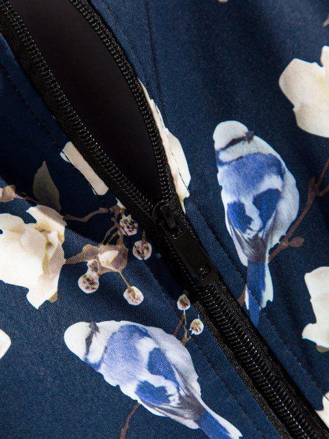 Pflanzen Blumendruck Reißverschluss Jacke - Tiefes Blau XL Mobile