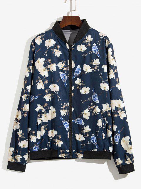 Veste Zippée Fleur et Plante Imprimées - Bleu profond XS Mobile