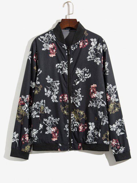 Veste Zippée Fleur et Plante Imprimées - Noir XL Mobile