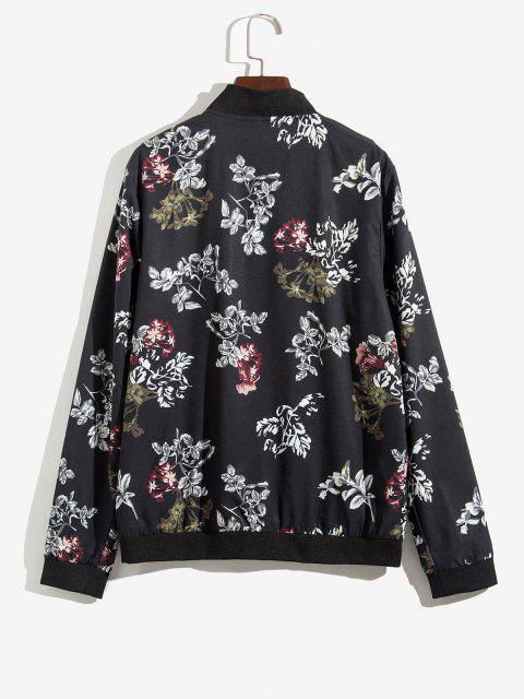 Veste Zippée Fleur et Plante Imprimées - Noir XS Mobile