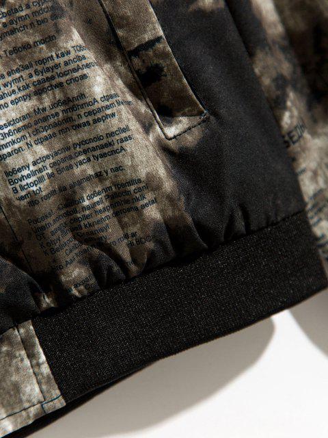 Veste Zippée Imprimée à Ourlet Côtelé - Vert profond L Mobile