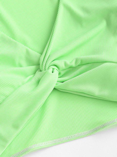 sale ZAFUL Ribbed Twisted Long Sleeve Swim Top - GREEN S Mobile