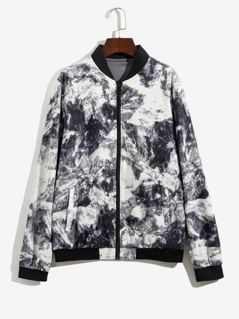 fancy Zip Up Print Stand Collar Jacket - GRAY XS Mobile
