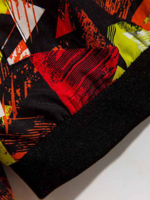 Veste Imprimée Zippée à Col Debout - Rouge M Mobile