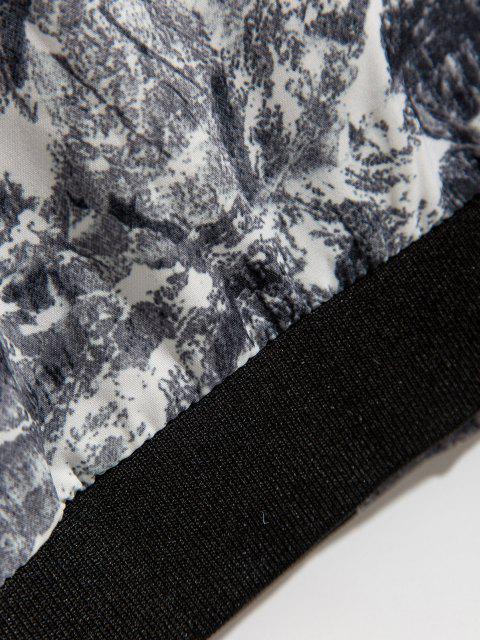 Veste Imprimée Zippée à Col Debout - Gris M Mobile