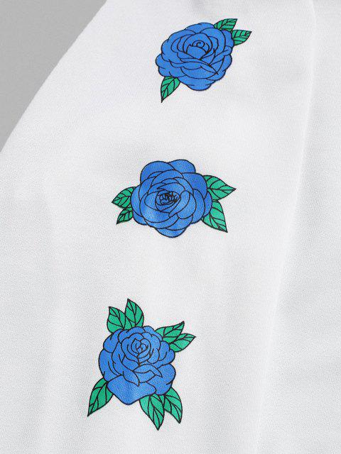 Nicht Rauchen Rosen Blumen Muster Hoodie - Weiß L Mobile