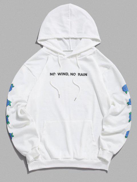 Nicht Rauchen Rosen Blumen Muster Hoodie - Weiß S Mobile