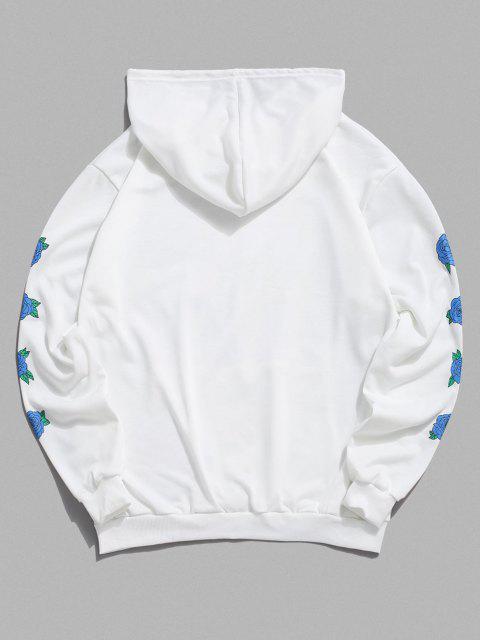 Nicht Rauchen Rosen Blumen Muster Hoodie - Weiß M Mobile