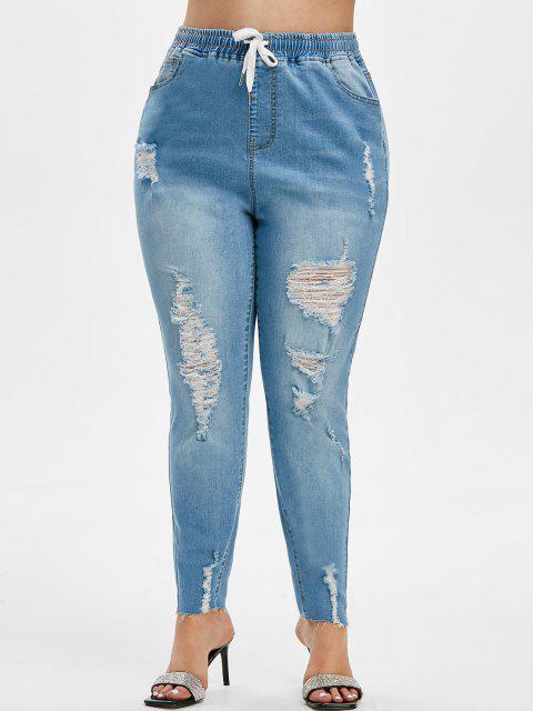 Tamaño más drawString rasgado deshilachados Hem Jeans - Azul claro 5X Mobile