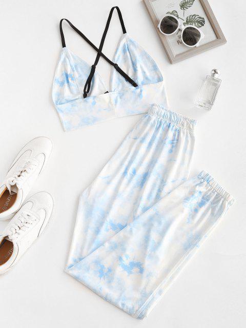 Kreuzes und Queres Krawattenfärbendes Zweiteiler Set - Blau M Mobile