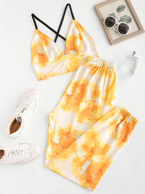 trendy Tie Dye Crisscross Two Piece Pants Set - YELLOW L Mobile