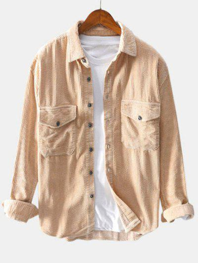 Double Pockets Button Up Corduroy Shirt - Light Yellow L