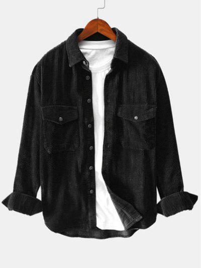 Zweireiher Taschen Knopf Kord Hemd - Schwarz Xl