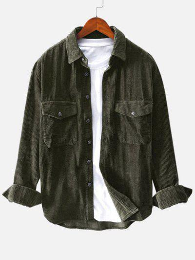 Double Pockets Button Up Corduroy Shirt - Deep Green L