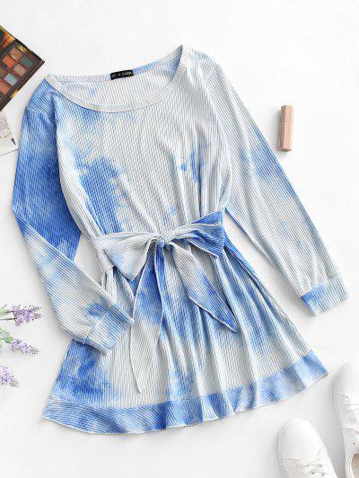 Ribbed Tie Dye Tie Waist Pep Hem Tee Dress - Light Blue S