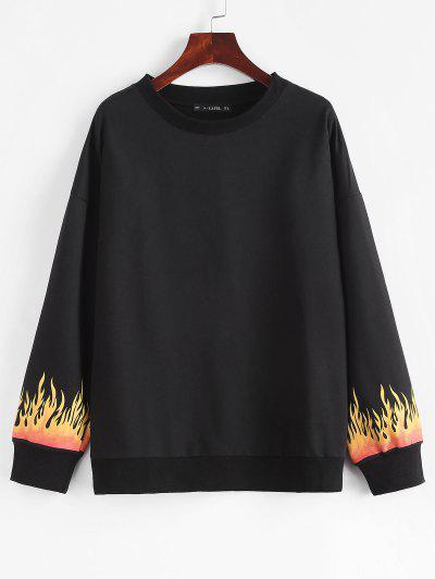 Flame Print Drop Shoulder Loose Sweatshirt - Black L
