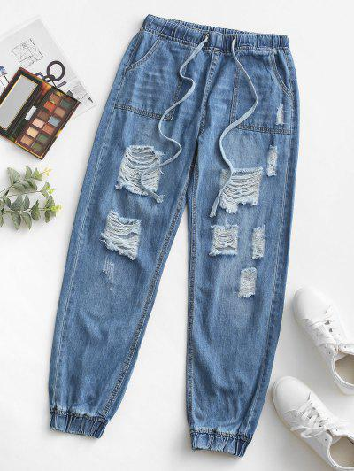 Grunge Drawstring Pocket Ripped Jogger Jeans - Light Blue S