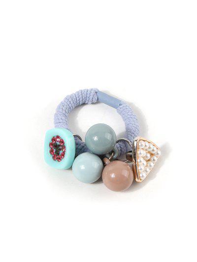 Faux Pearl Beads Pendant Hair Tie - Azure