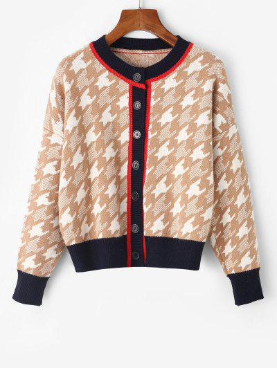 Button Up Crew Neck Houndstooth Cardigan - Camel Brown
