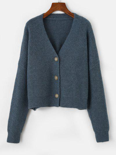Drop Shoulder Button Up Oversized Cardigan - Peacock Blue